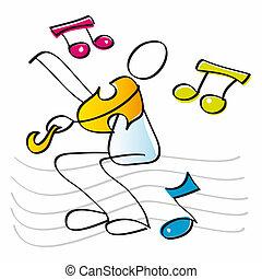 divertido, violinista, juego, el, violín