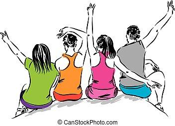 divertimento, amici, gruppo, detenere, illustrazione