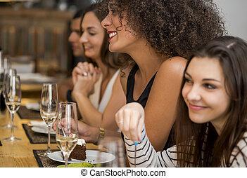 divertimento, amigos, tendo, restaurante