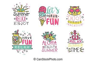 divertimento, apreciar, modelos, vetorial, férias, coloridos, ilustração, logotipo, cobrança, ter, desenho, etiquetas, verão, relaxe, cute, tempo, lets