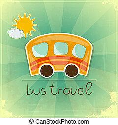 divertimento, autobus, viaggiare, scheda
