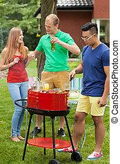 divertimento, barbecue, detenere