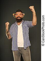 divertimento, beard., entretendo, óculos, mind., glasses., acessório, desfrutando, partido., sujeito, himself., moda, barbudo, engraçado, meu, brincalhão, extravagante, só, homem, partido, desgastar, hipster