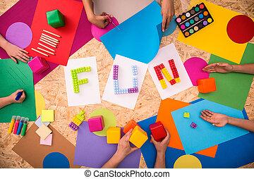 divertimento, carta, parola, colorito