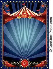 divertimento, cartaz, circo, noturna