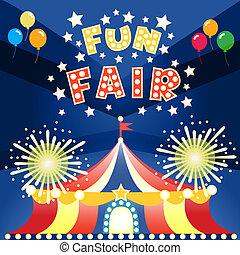 divertimento, cartaz, feira