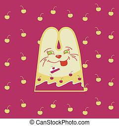 divertimento, cartone animato, coniglio