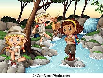 divertimento, cascata, detenere, bambini