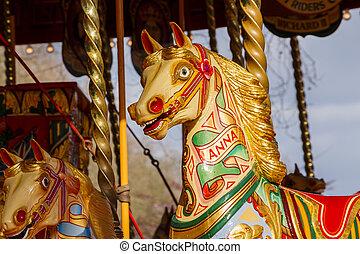 divertimento, cavalo, feira, carrossel