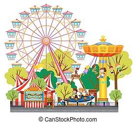 divertimento, circo, detenere, bambini