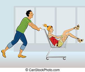 divertimento, coppia, detenere, negozio