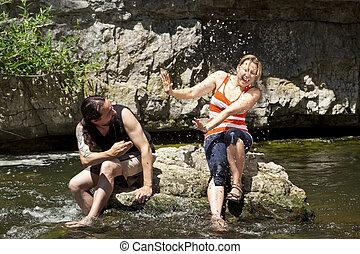 divertimento, coppia, ha, fiume