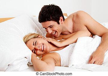 divertimento, coppia, ha, letto
