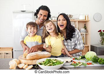 divertimento, cozinha, vivamente, família, tendo