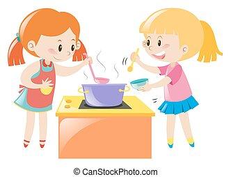 divertimento, cozinhar, meninas, tendo, junto