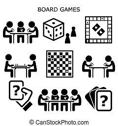 divertimento, dama, set, gioco, attività, o, icone, persone, mentre, tavola, giochi, famiglia, scacchiera, cartelle, vettore, permanenza, amici, casa