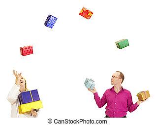 divertimento, detenere, due, lotto, persone