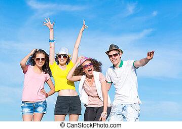 divertimento, detenere, gruppo, giovani persone