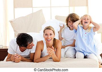 divertimento, família, tendo, junto, amando