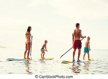 divertimento famiglia, alzati, paddling
