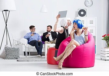 divertimento, festa, detenere, donne