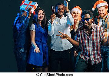 divertimento, festa, detenere, natale, persone