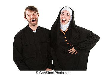 divertimento, freira, padre