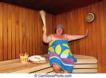 divertimento, grande, mulher, sauna