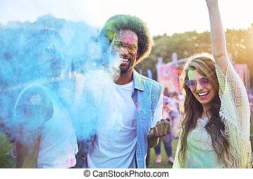 divertimento, grupo, tendo, festival, amigos