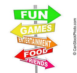 divertimento, intrattenimento, attività, segni, indicare,...
