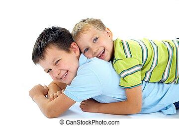 divertimento, irmãos, tendo, dois