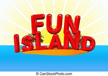divertimento, isola, illustrazione