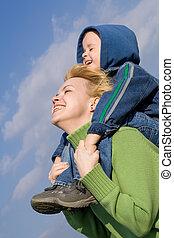divertimento, mãe, tendo, filho