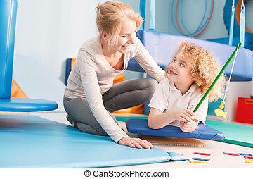 divertimento, menino, terapia, tendo, durante