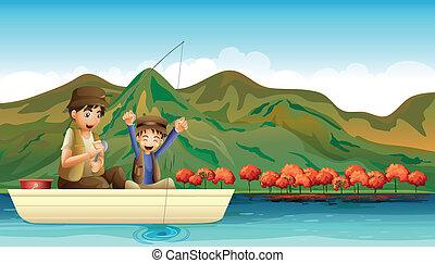 divertimento, mentre, detenere, pesca