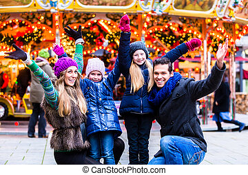 divertimento, mercato, natale, famiglia, detenere