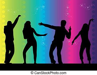 divertimento, -, nero, persone, silhouette, .