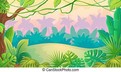divertimento, pôr do sol, selva, paisagem