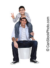 divertimento, padre, figlio