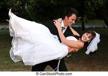 divertimento, par, casório