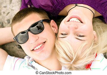divertimento, par, feliz, tendo, jovem