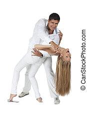 divertimento, par, jovem, ter, dançar