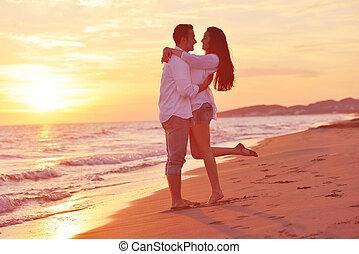 divertimento, par, praia, jovem, ter