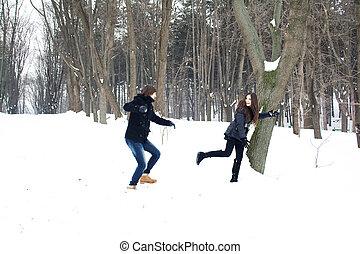 divertimento, par, tendo, jovem, neve