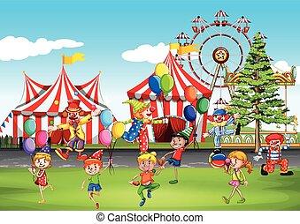 divertimento, parco, detenere, bambini