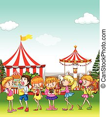 divertimento, parco, detenere, divertimento, bambini