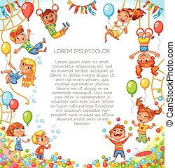 divertimento, park., playground., divertente, cartone animato, carattere