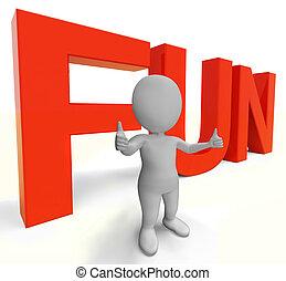 divertimento, parola, mostra, godimento, gioia, e, felicità
