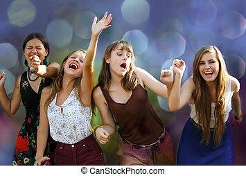 divertimento, partido, meninas adolescentes, tendo