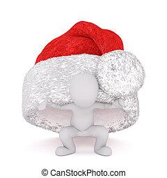 divertimento, pequeno, 3d, homem, escondendo, sob, um, chapéu natal